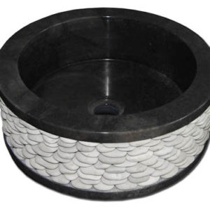 Νιπτήρας Μαύρος Πέπλα Λευκή Κύκλος