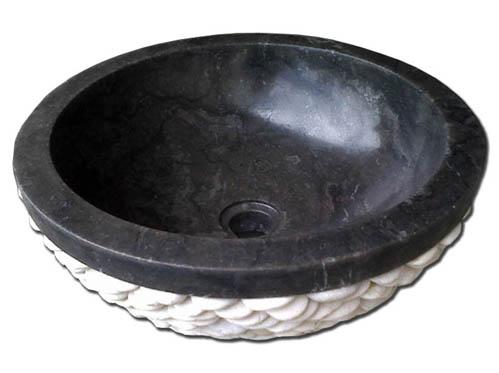 Νιπτήρας Μαύρος Πέπλα Λευκή